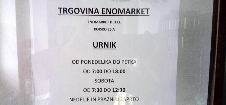 Nov urnik trgovine Enomarket d.o.o.